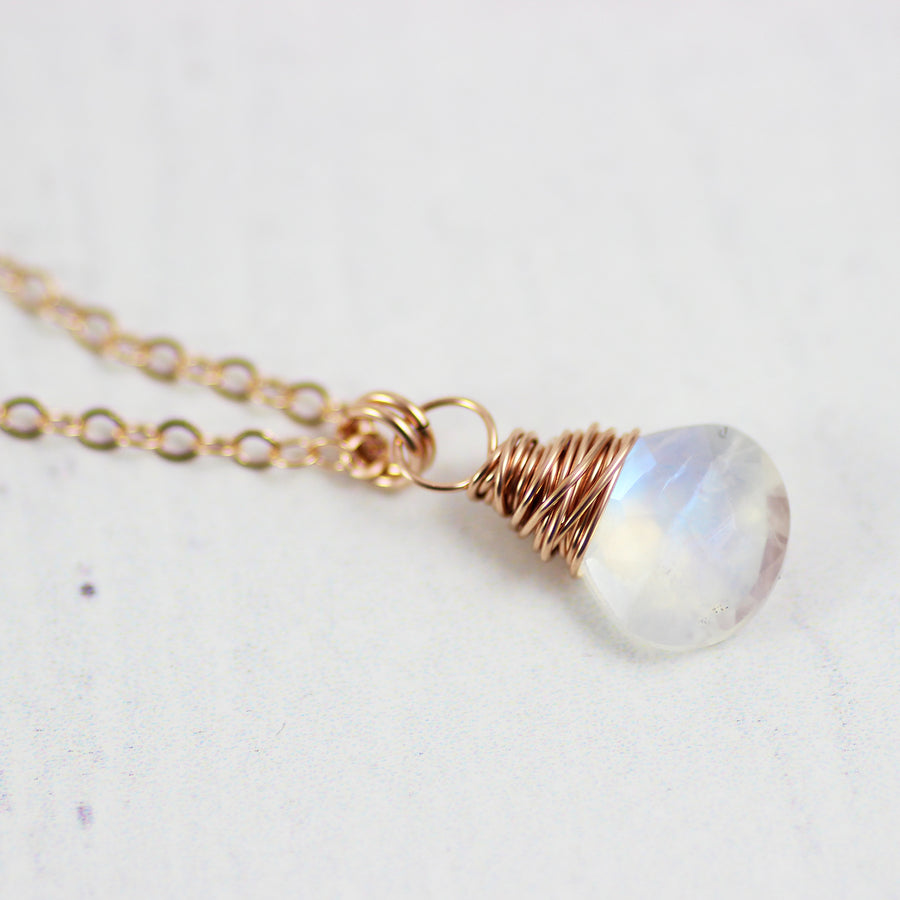 Rainbow Moonstone Small Rose Gold Pendant Necklace