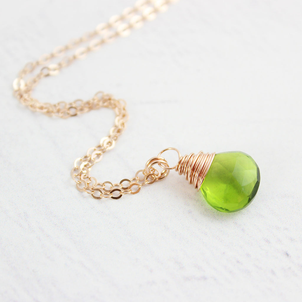 Green Quartz Rose Gold Gemstone Necklace