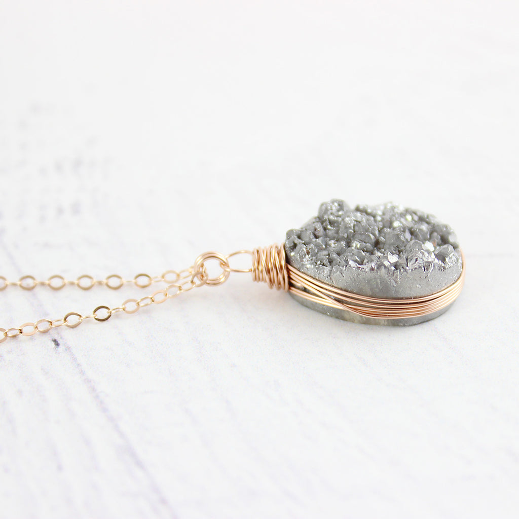 Silver Rose Gold Druzy Teardrop Necklace