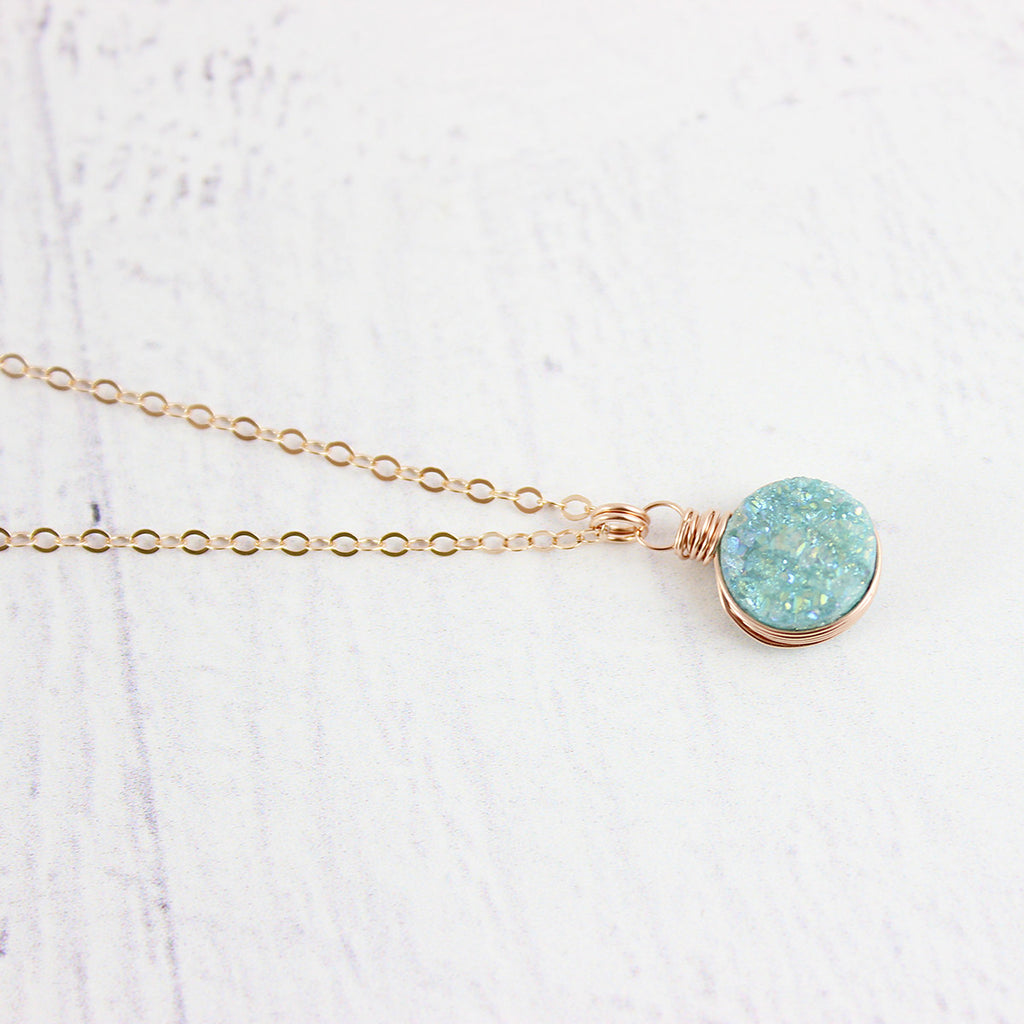 Light Green Druzy Rose Gold Circle Necklace