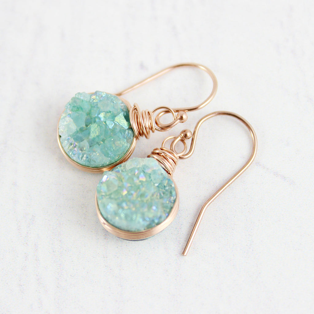 Light Green Druzy Rose Gold Circle Earrings