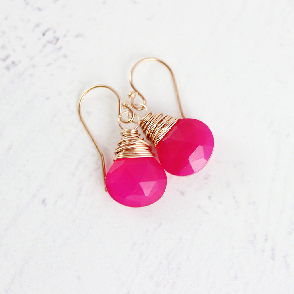 Hot Pink Rose Gold Gemstone Earrings