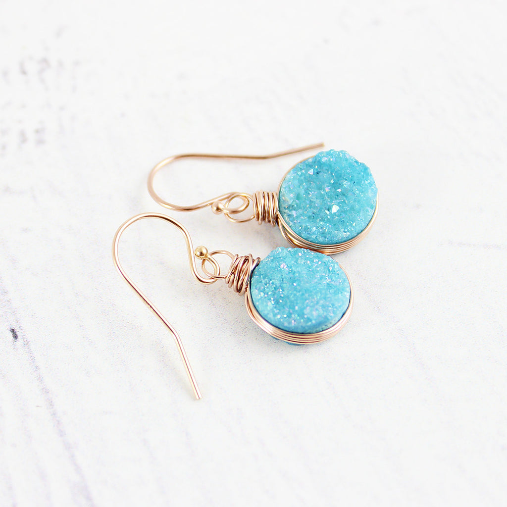 Sky Blue Druzy Rose Gold Circle Earrings