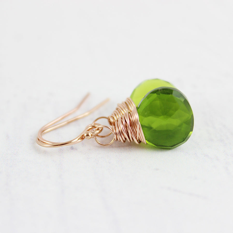 Green Quartz Rose Gold Dangle Earrings