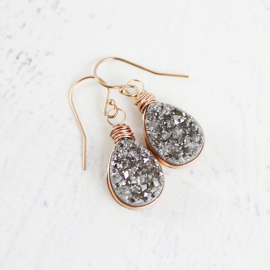 Silver Druzy Rose Gold Teardrop Earrings