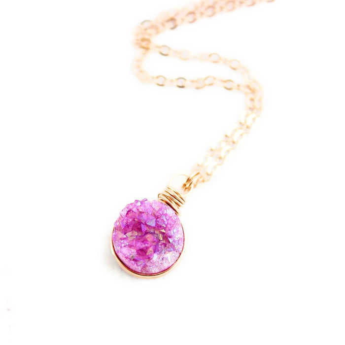 Fuchsia Druzy Rose Gold Circle Necklace