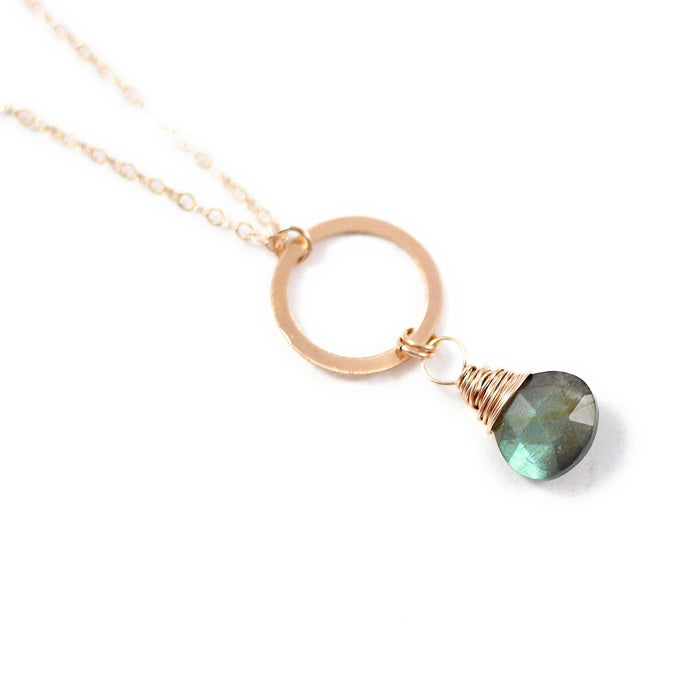 Labradorite Gemstone Rose Gold Circle Pendant Necklace