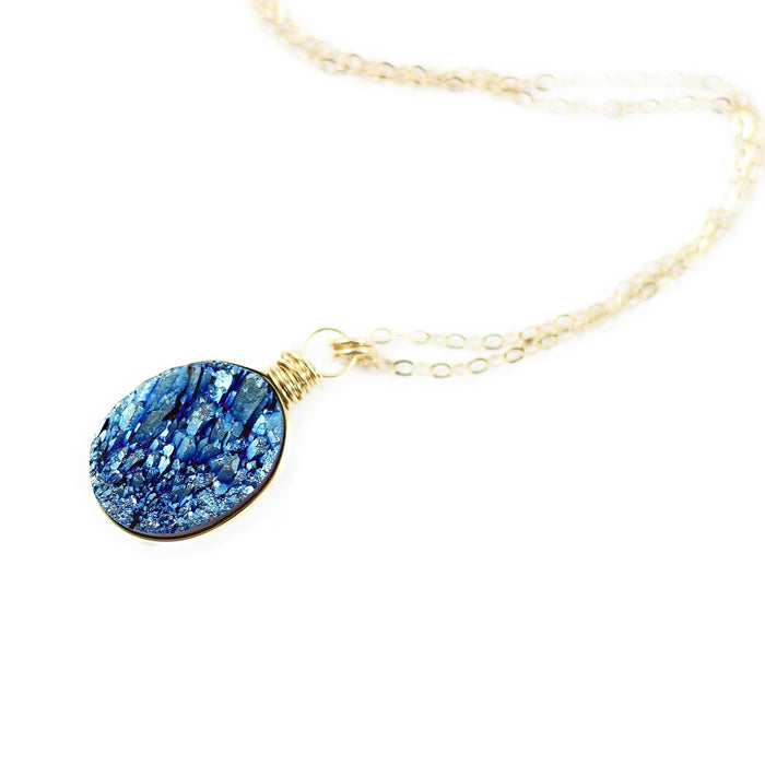 Dark Blue Druzy Gold Oval Necklace