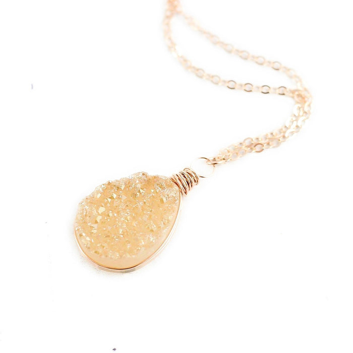 Champagne Druzy Rose Gold Teardrop Necklace