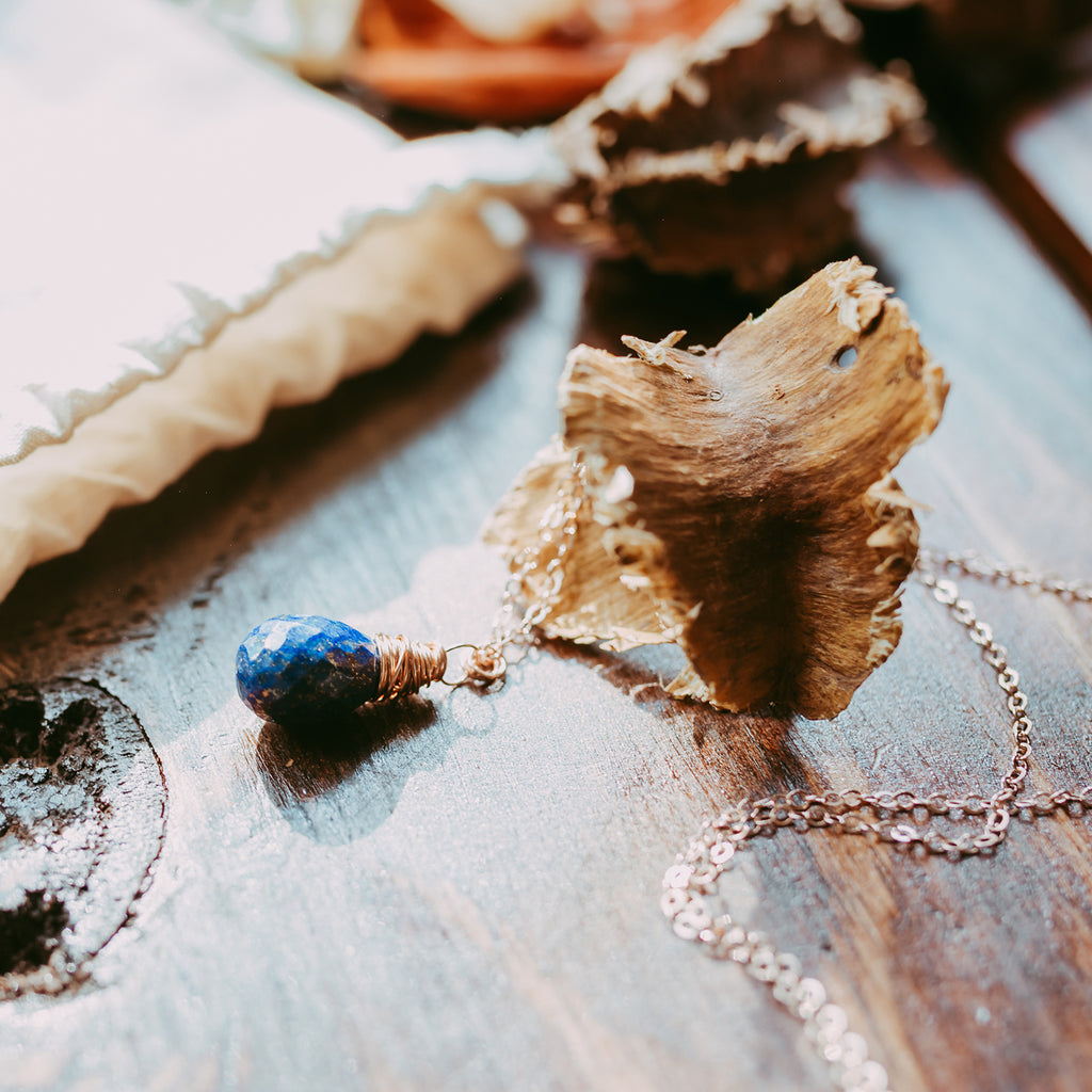 Blue Lapis Rose Gold Teardrop Necklace