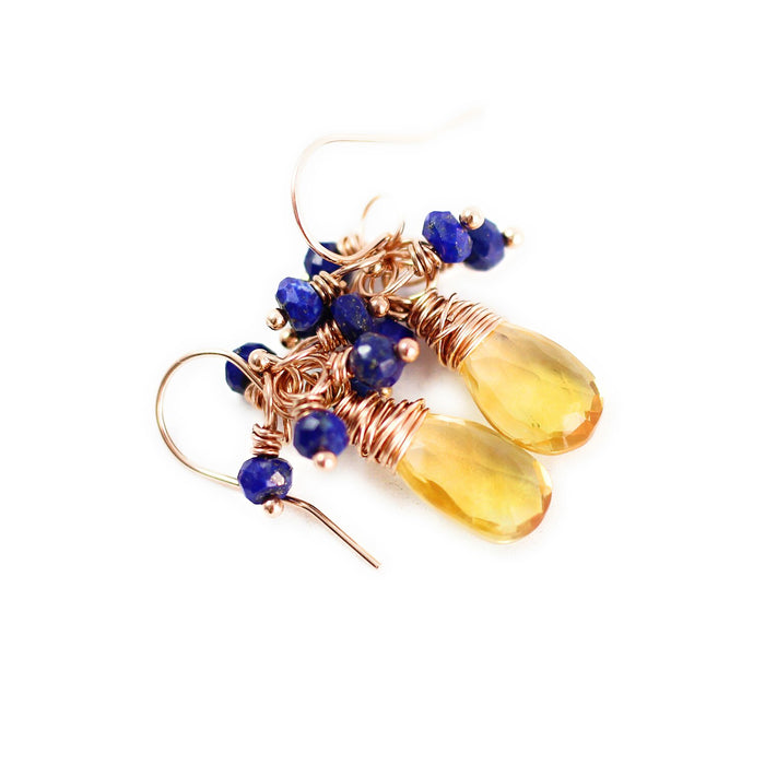 Yellow Citrine and Blue Lapis Rose Gold Gemstone Earrings