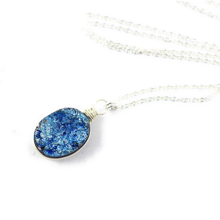 Dark Blue Druzy Oval Pendant Silver Necklace