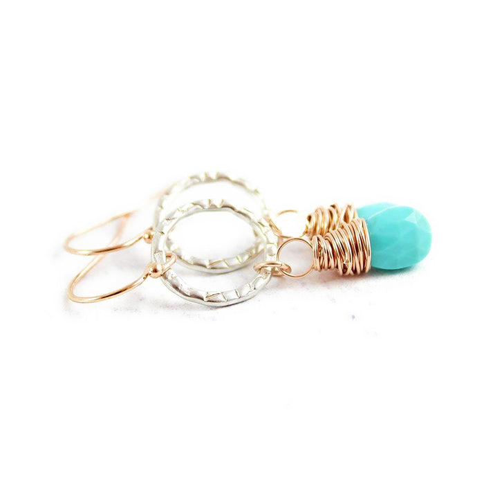 Turquoise Gemstone Mixed Metal Dangle Earrings
