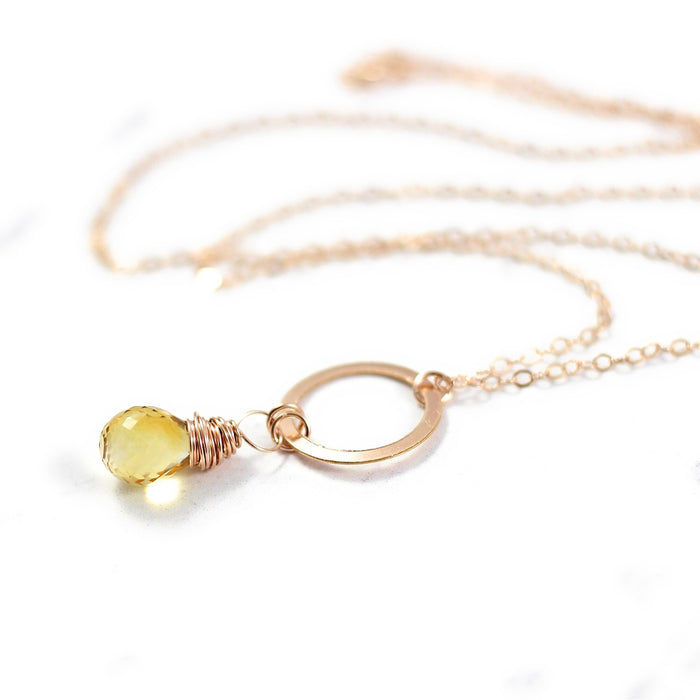 Yellow Citrine Teardrop Rose Gold Necklace