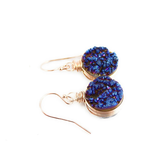 Dark Blue Druzy Rose Gold Circle Earrings