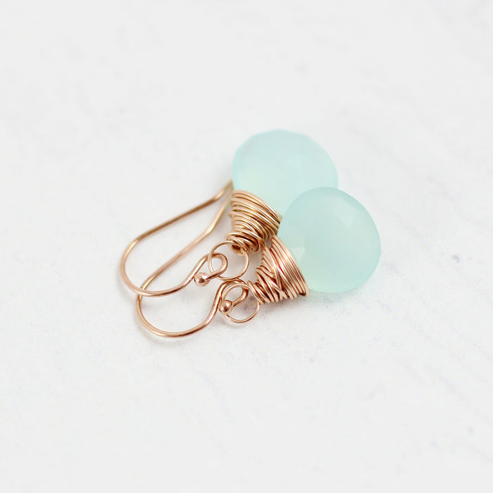 Aqua Chalcedony Rose Gold Earrings