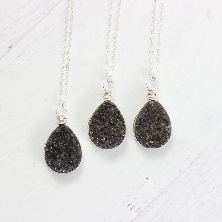 Black Druzy Sterling Silver Pendant Necklace