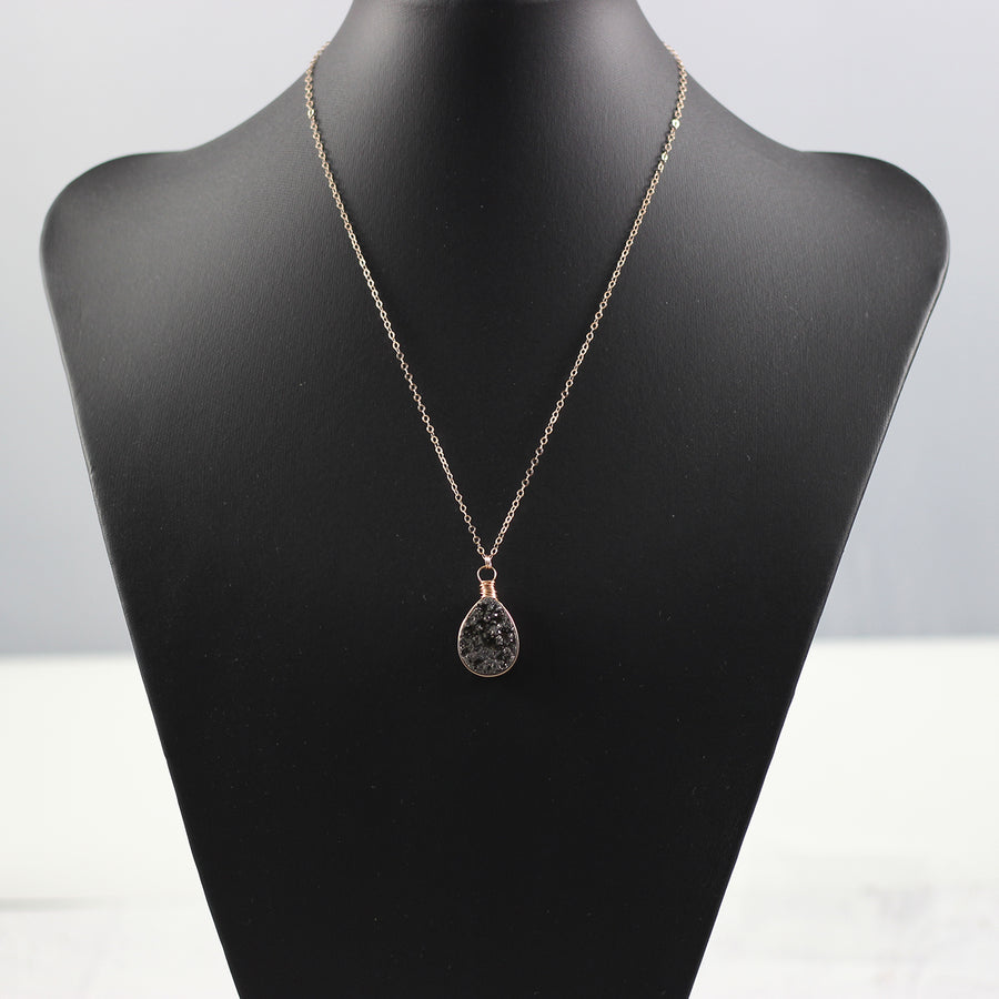 Black Druzy Teardrop Rose Gold Necklace