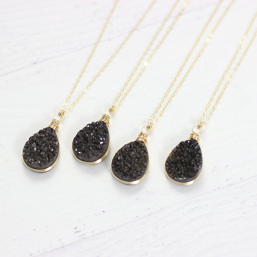 Black Druzy Teardrop Yellow Gold Necklace