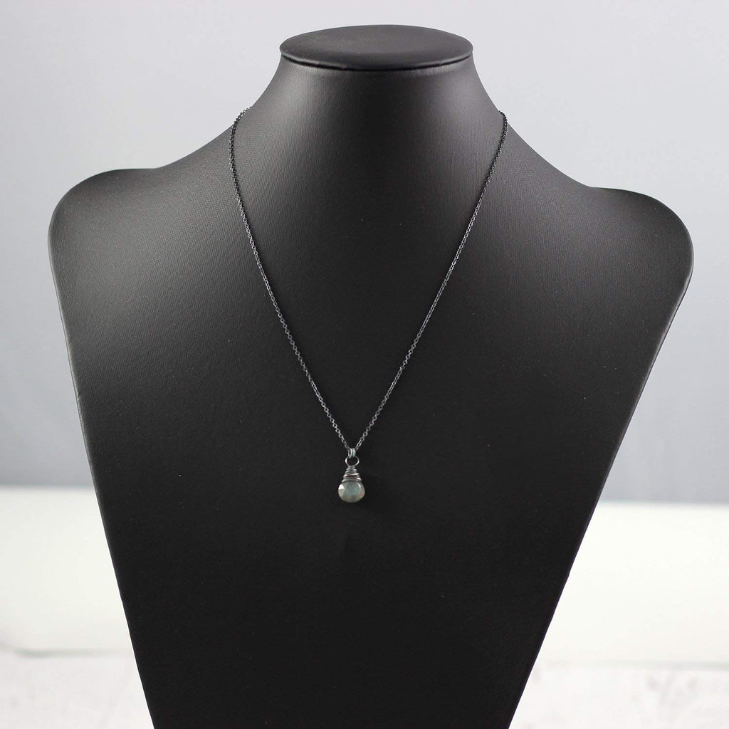 Black Labradorite Sterling Silver Pendant Necklace
