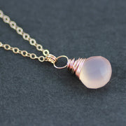Blush Pink Rose Gold Pendant Necklace