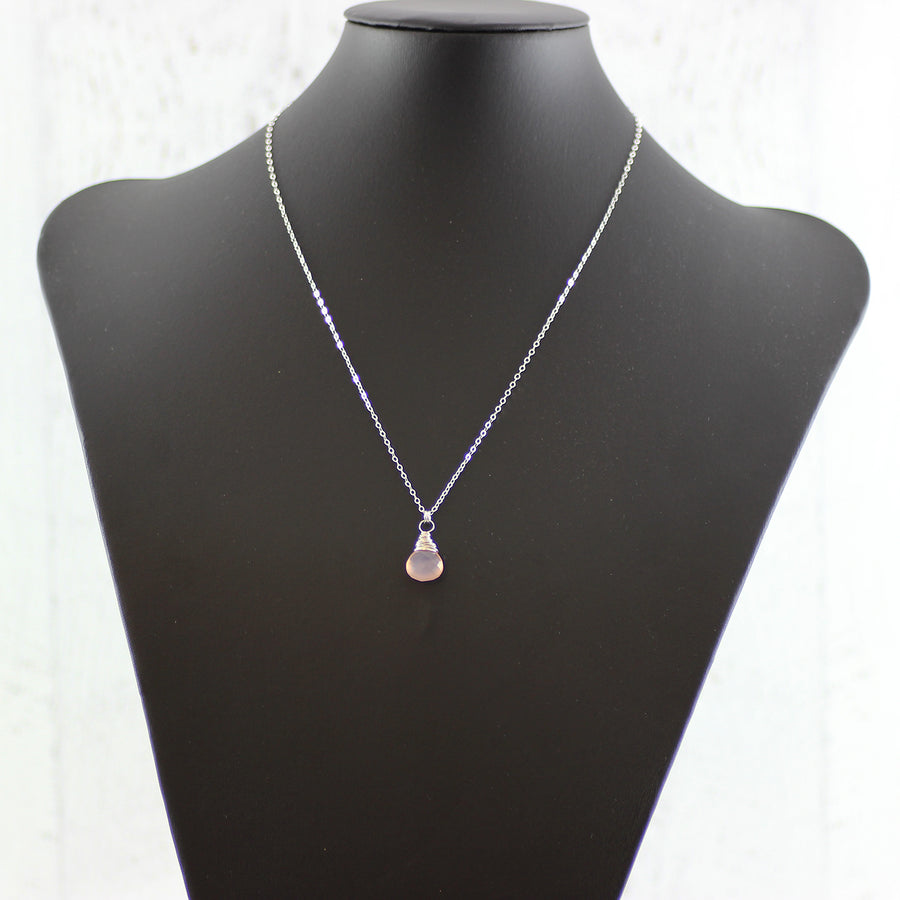 Blush Pink Sterling Silver Gemstone Necklace