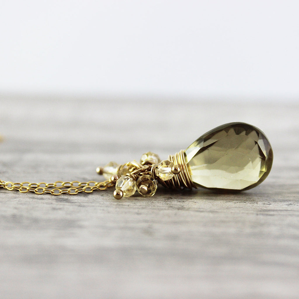 Gold Citrine & Quartz Necklace - As Worn on Cedar Cove
