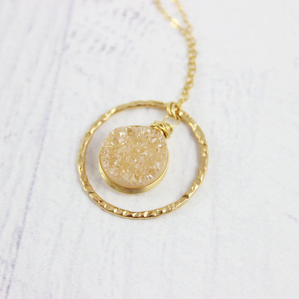 Champagne Druzy Geode Gold Circle Pendant Necklace