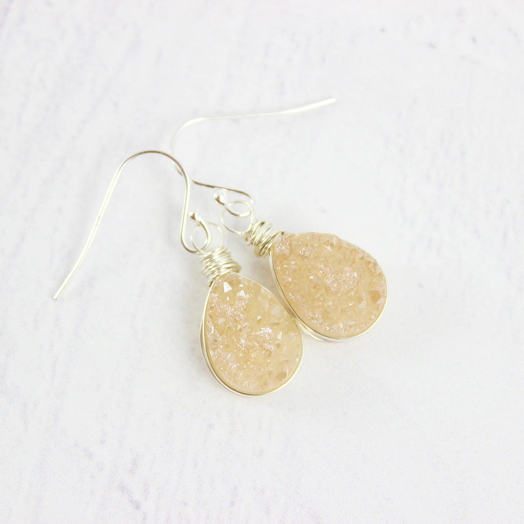 Peach Druzy Teardrop Sterling Silver Earrings