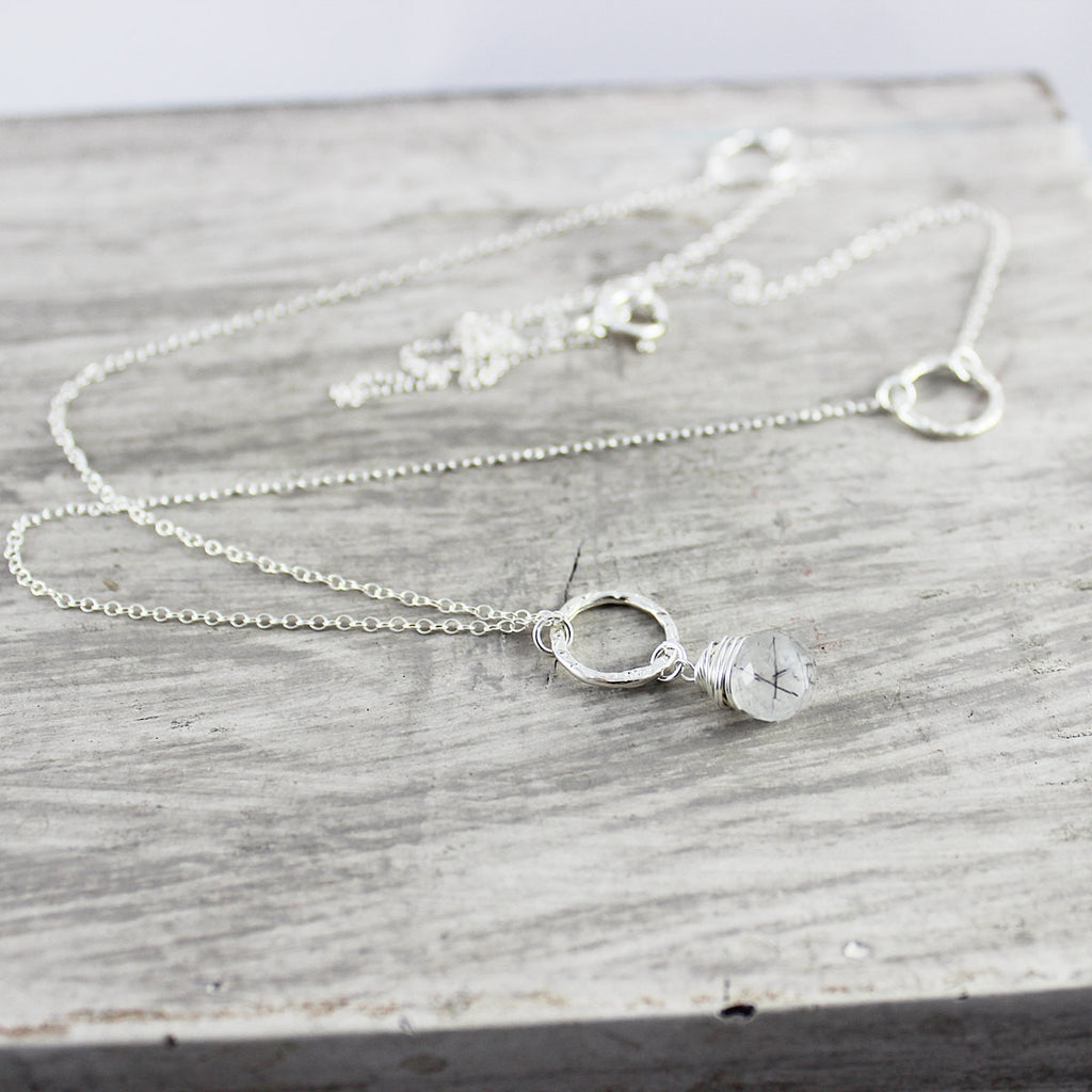 Long Sterling Silver Rutilated Quartz Necklace - As Worn on Chicago PD