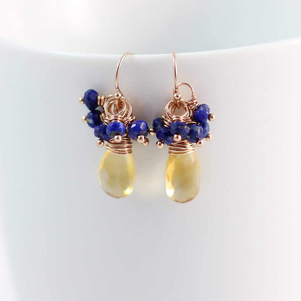 Yellow Citrine and Blue Lapis Rose Gold Gemstone
