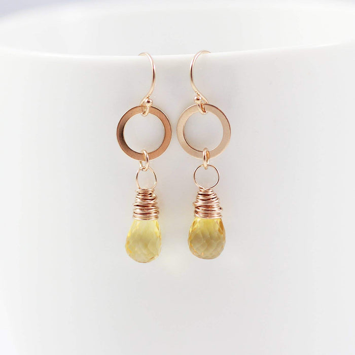 Yellow Citrine Teardrop Rose Gold Earrings