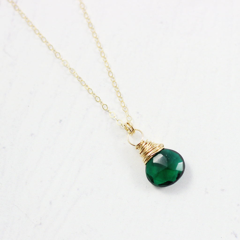 Dark Green Quartz Gold Filled Stone Necklace