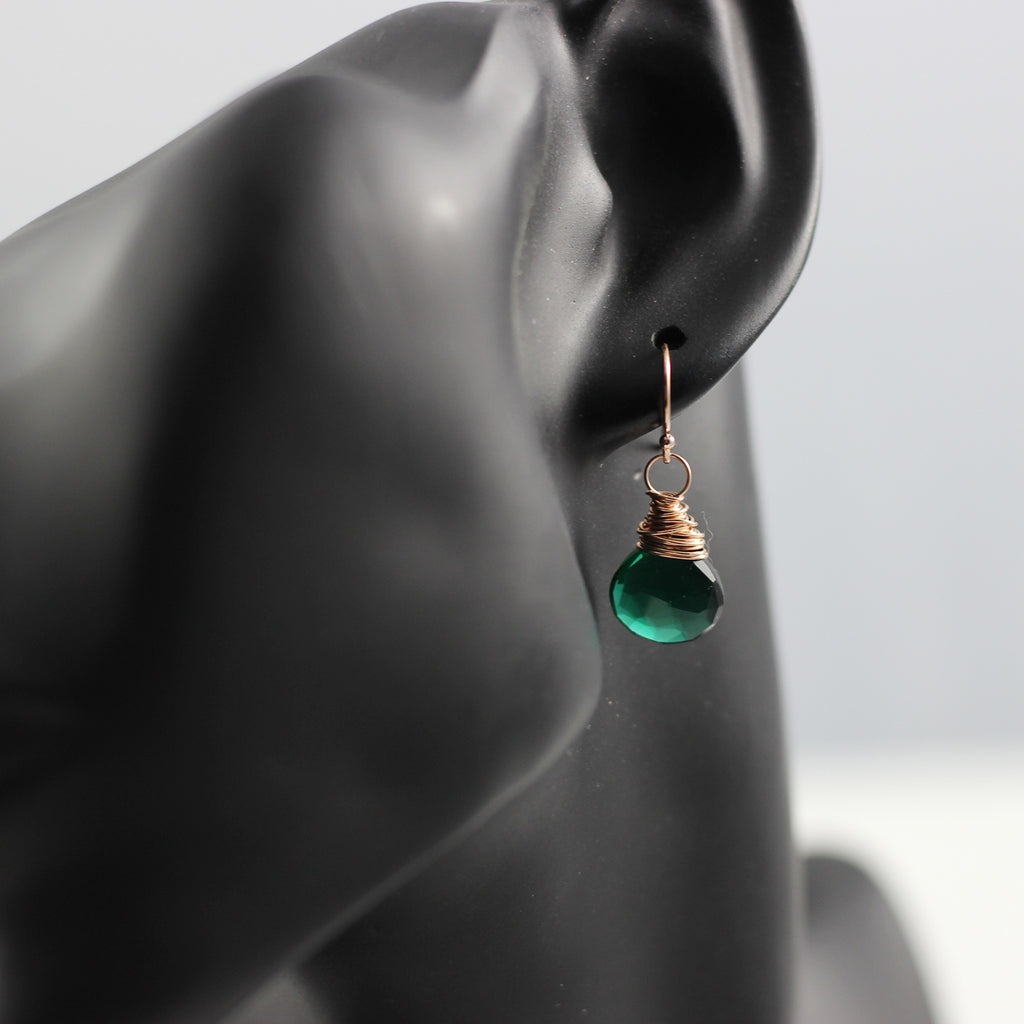 Dark Green Quartz Rose Gold Earrings