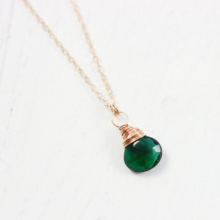 Dark Green Quartz Rose Gold Stone Necklace