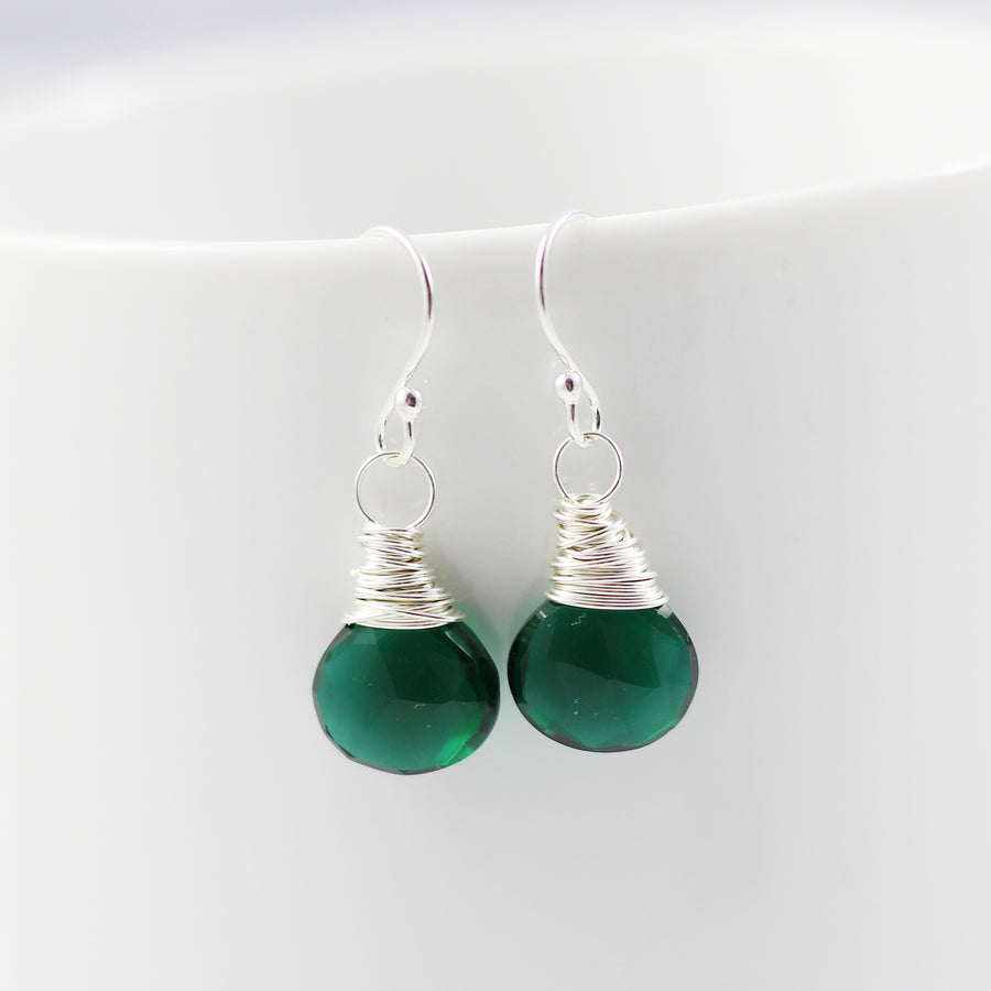 Dark Green Quartz Sterling Silver Earrings