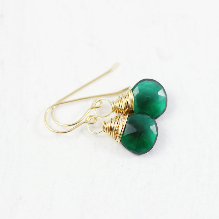 Dark Green Quartz Yellow Gold Earrings