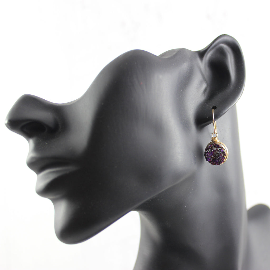 Dark Metallic Purple Druzy Gold Dangle Earrings