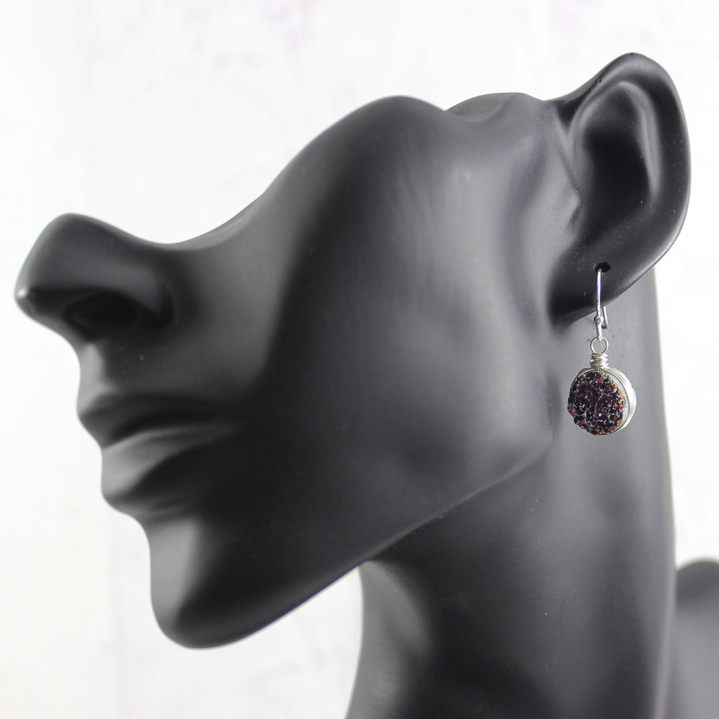 Dark Metallic Purple Druzy Sterling Silver Earrings
