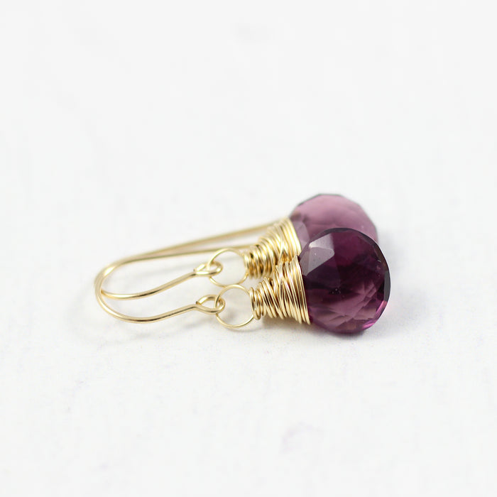 Dark Purple Quartz Gold Filled Dangle Earrings