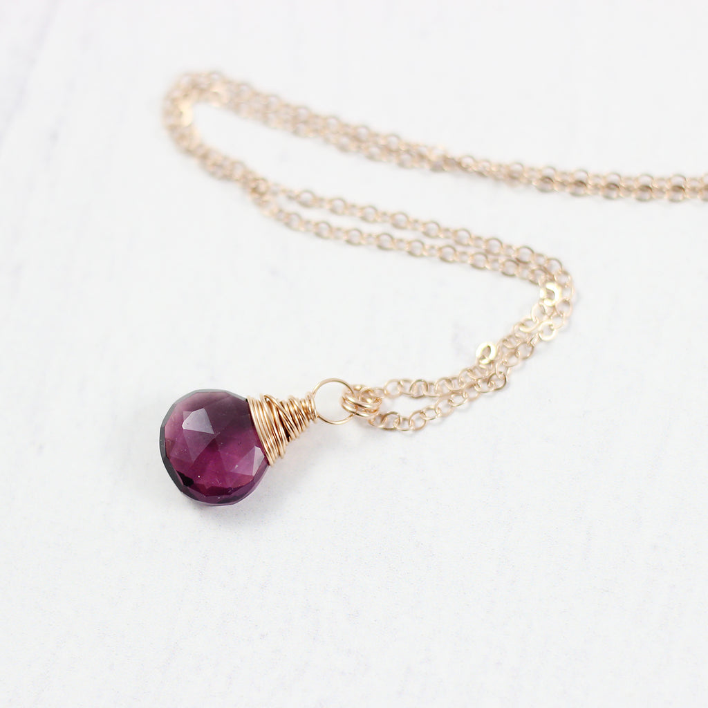 Dark Purple Quartz Rose Gold Stone Necklace
