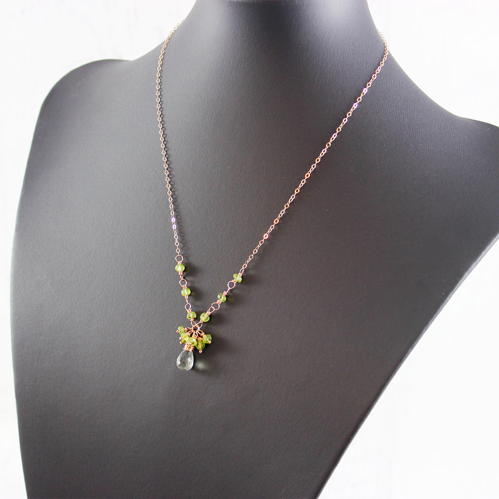 Green Amethyst and Peridot Rose Gold Necklace