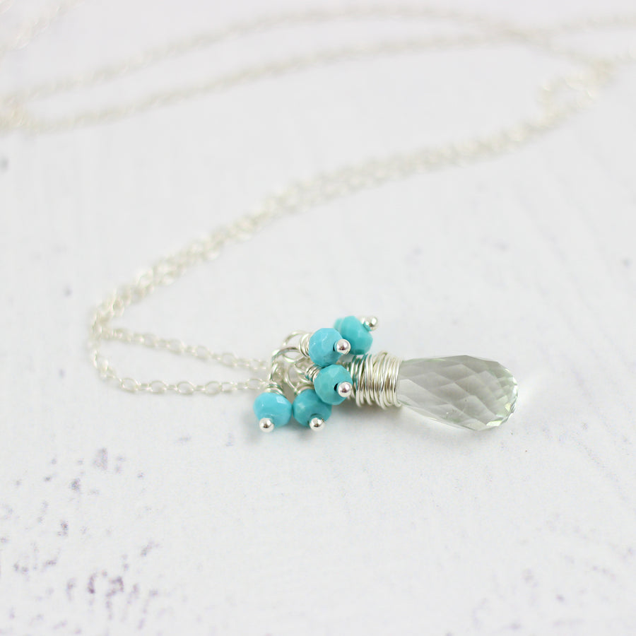 Green Amethyst and Turquoise Silver Pendant Necklace