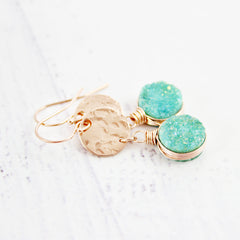 Green Druzy Rose Gold Dangle Earrings