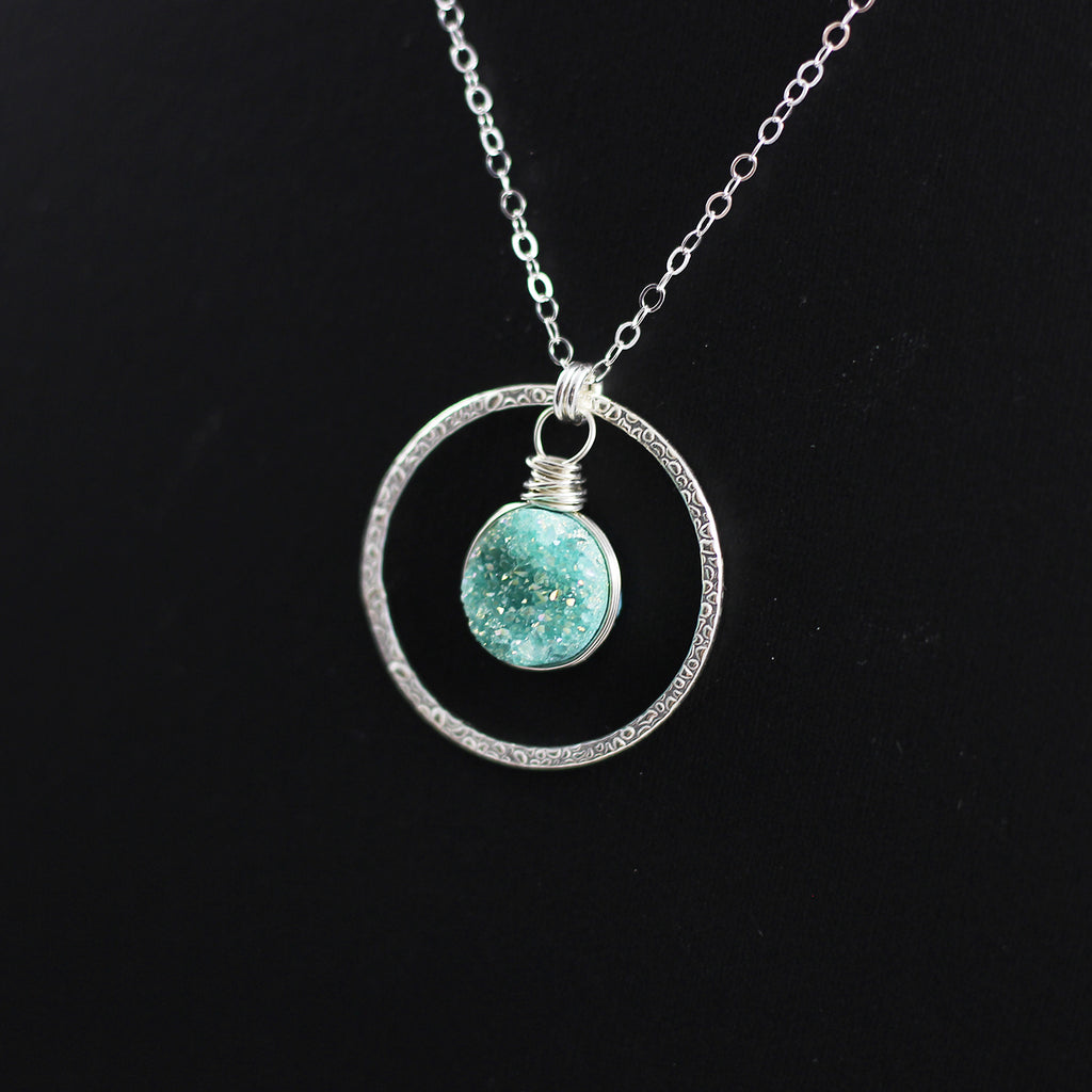 Green Druzy Geode Sterling Silver Pendant Necklace