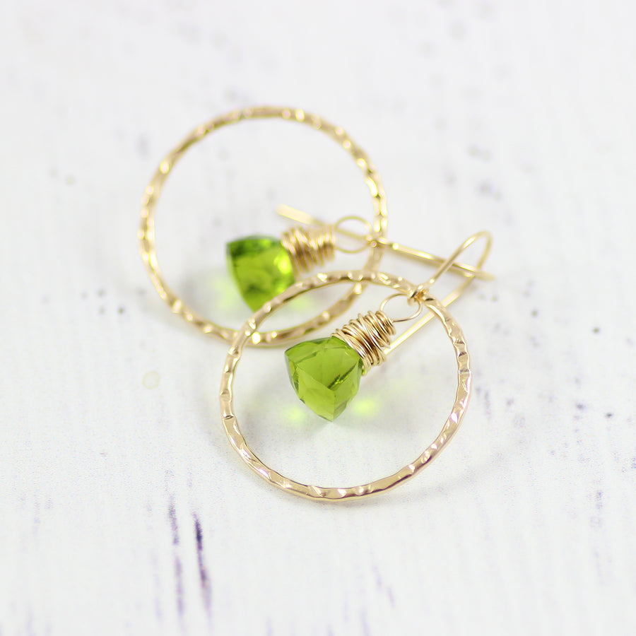 Green Quartz Gemstone Gold Filled Hoop Earrings