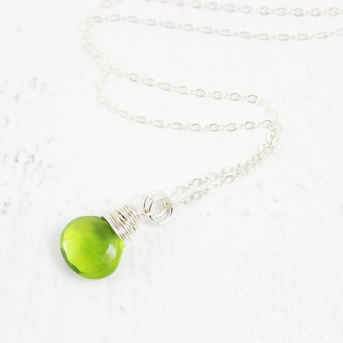 Bright Green Quartz Sterling Silver Necklace