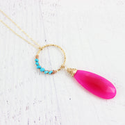 Pink and Turquoise Gold Filled Gemstone Necklace
