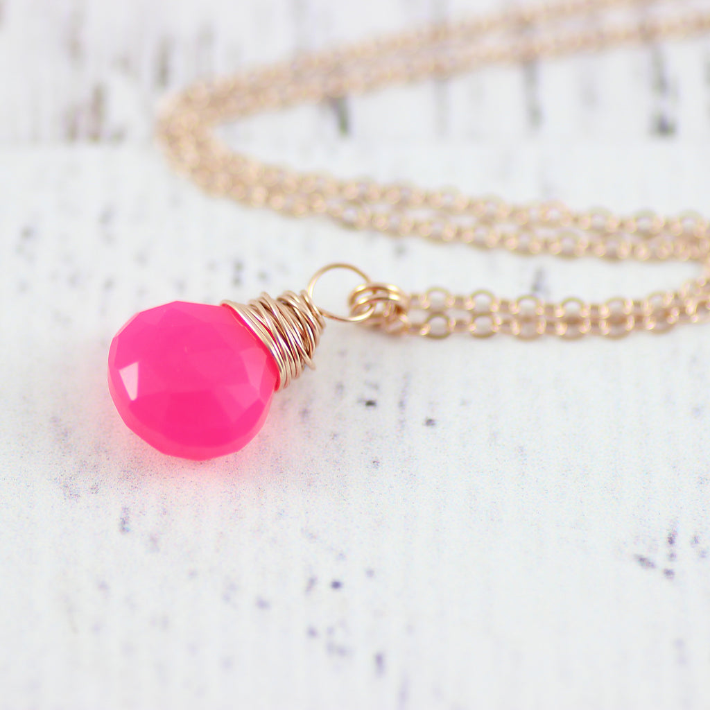 Hot Pink Chalcedony Rose Gold Necklace