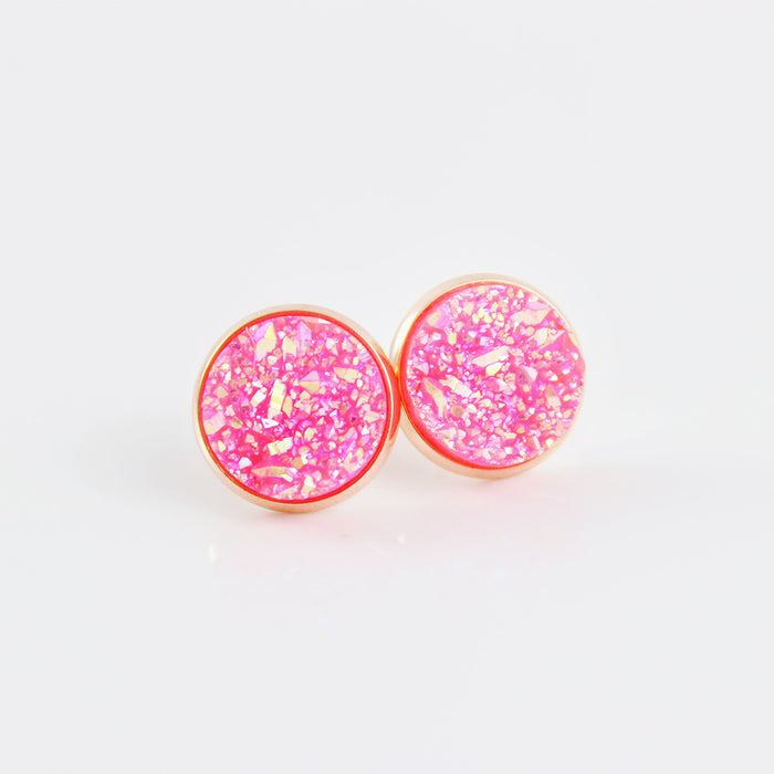 Hot Pink Faux Druzy Rose Gold-tone Stud Earrings